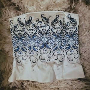 Whbm embroidered bustier, white and blue